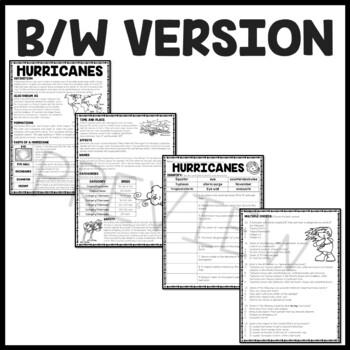 Hurricanes Informational Reading Comprehension Worksheet