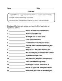 Hyperbole Worksheets by Learning is Lots of Fun | TpT