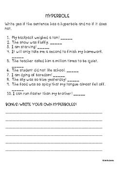 Hyperbole Worksheet By Teacher Of Muggles