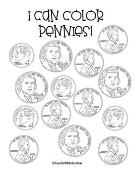 I Can Color Coins: Simple Coloring Pages by Teach With