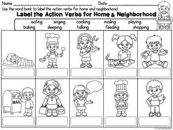 I Can Label It! Action Verbs Word Work Center by Over The