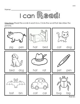 I Can Read Cvc Reading Worksheet 1 By Miss Kelly