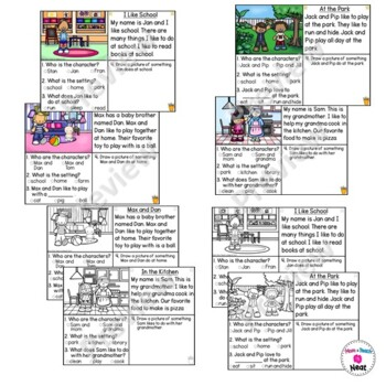 Kindergarten Story Element Worksheets-Set 1 by Mom Plus