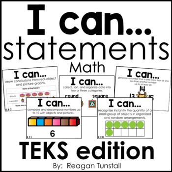 I Can Statements Math TEKS edition Kindergarten by Reagan