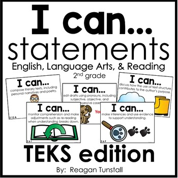 I Can Statements Math & ELAR TEKS Bundle Second Grade by