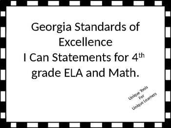 I Can Statements for 4th grade ELA and Math for Georgia