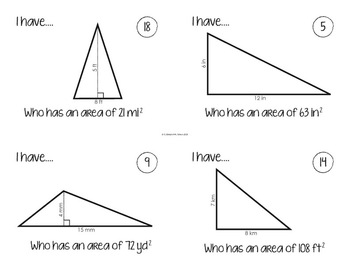 I Have, Who Has... {Area of Quadrilaterals and Triangles