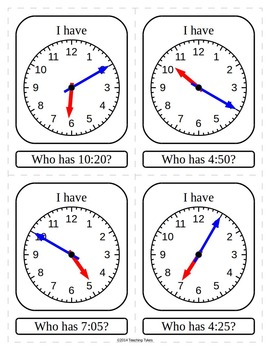 Telling Time 5 Minutes I Have Who Has Game by Teaching