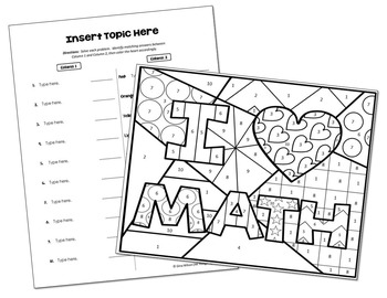 Coloring Activity Template: I Heart Math (Personal Use
