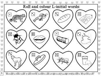 I Love Valentines Day: Roll & Colour L-initial