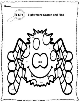I SPY Sight Word Search and Find Halloween Edition by