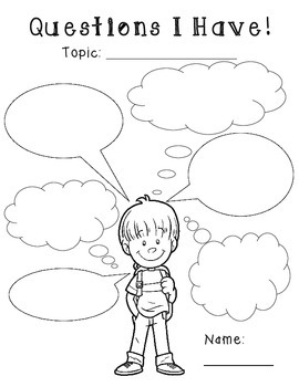 I Think and I Wonder Thought Bubble Graphic Organizers