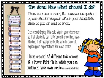 I am done What should I do Options for Early Finishers by First Grade Fancy