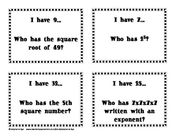 I have...Who has...? Square Roots, Square Numbers