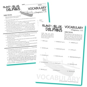 THE ISLAND OF THE BLUE DOLPHINS Vocabulary List and Quiz