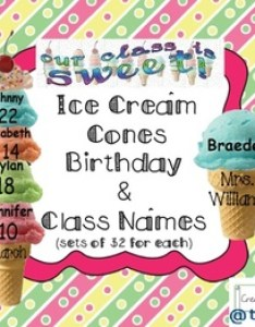 Ice cream cones birthday and class names set also by teacheropolis jen rh teacherspayteachers