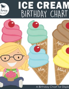 Ice cream cone themed birthday chart and certificate also tpt rh teacherspayteachers