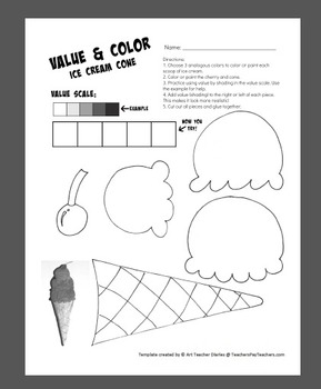 Ice Cream Cone Value and Color Art Project Printable