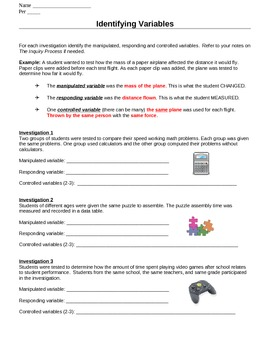 Identify Variables Worksheets By Ms Science Spot