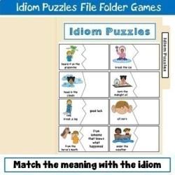 Idiom puzzle file folder game