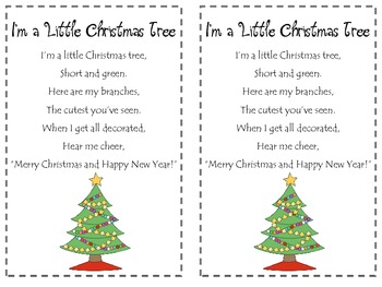 picture Christmas Tree Poem Short i m a little christmas tree poetry pack