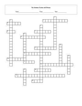 Immune System and Disease Crossword Puzzle with key by