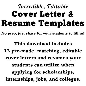 Back to School: Incredible, Editable Cover Letter & Resume