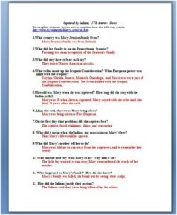 Indian Captive Primary Source Worksheet (French and Indian ...