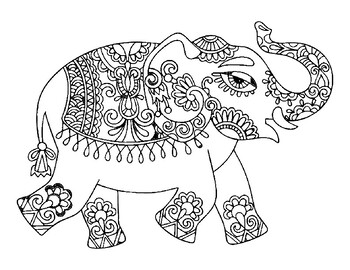 Indian Elephant Coloring Page India Art Indian Art India
