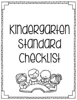 Indiana Standards Checklist Kindergarten by Coffman's