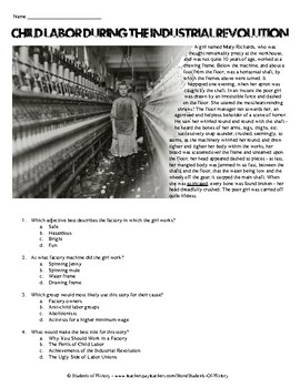 Industrial Revolution Child Labor Story with Questions by