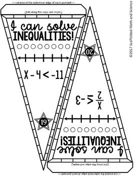 One-Step Inequalities Math Pennant Activity by Scaffolded