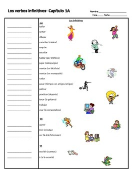 Realidades I. Chapter 1A Cornell Notes- infinitive verbs