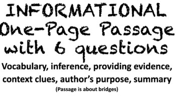Informational One-Page Passage with Six Questions by