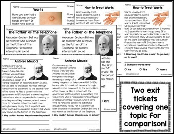 Informational Reading Exit Tickets 3rd Grade by Create