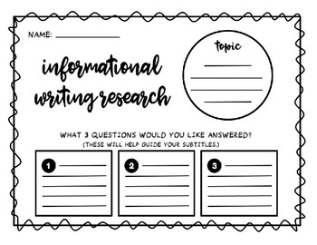 Informational Writing Graphic Organizer for Research by