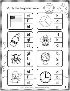 Initial Consonant Blends Practice Booklet (bl, cl, fl, gl