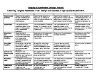 Inquiry Experimental Design Rubric by Wid's World of ...