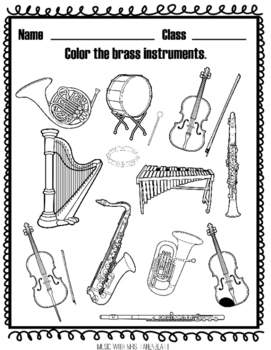 Instrument Families Coloring by Music with Mrs Tanenblatt