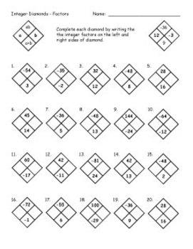 Math Diamond Worksheets. Math. Best Free Printable Worksheets