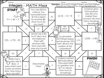 Integer Math Maze Freebie by Tiarra's Teaching Techniques