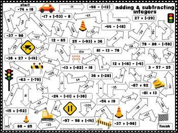 Integer Operations Mazes: Adding, Subtracting, Multiplying