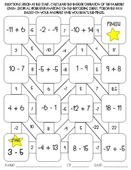 Adding and Subtracting Integers Maze Activity by Sixth