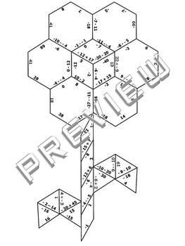 Integers Practice Puzzle Cut & Paste Activity Worksheet by