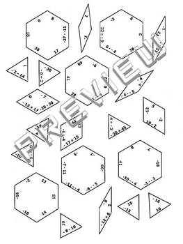 Integers Practice Puzzle Cut & Paste Activity Worksheet by