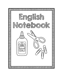English Notebook Cover Coloring Page Sketch Coloring Page