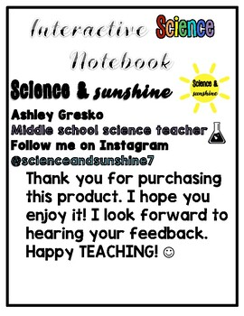 Interactive Science Notebook Cover by scienceandsunshine7