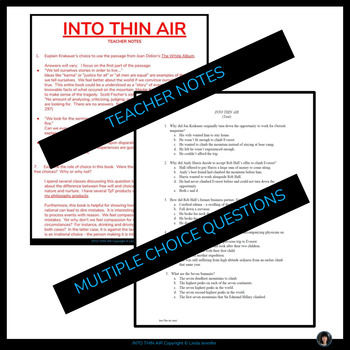 Into Thin Air: nonfiction (test and essay questions