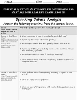 Intro To Psych Operant Conditioning & Spanking Debate Research Paper