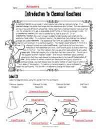 Introduction to Chemical Reactions Worksheet by Adventures ...